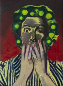 Casper Verborg   icon #6   oil and spray paint on canvas   40 x 30 cm   2019