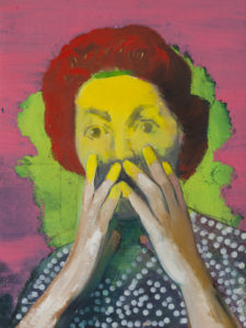 Casper Verborg   icon #7   oil and spray paint on canvas   40 x 30 cm   2019
