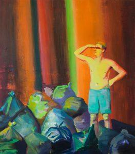 Casper Verborg   on the beach #1   oil and spray paint on canvas   160 x 140 cm   2018-2019