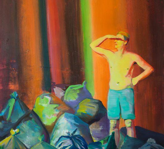 Casper Verborg | on the beach #1 | oil and spray paint on canvas | 160 x 140 cm | 2018-2019