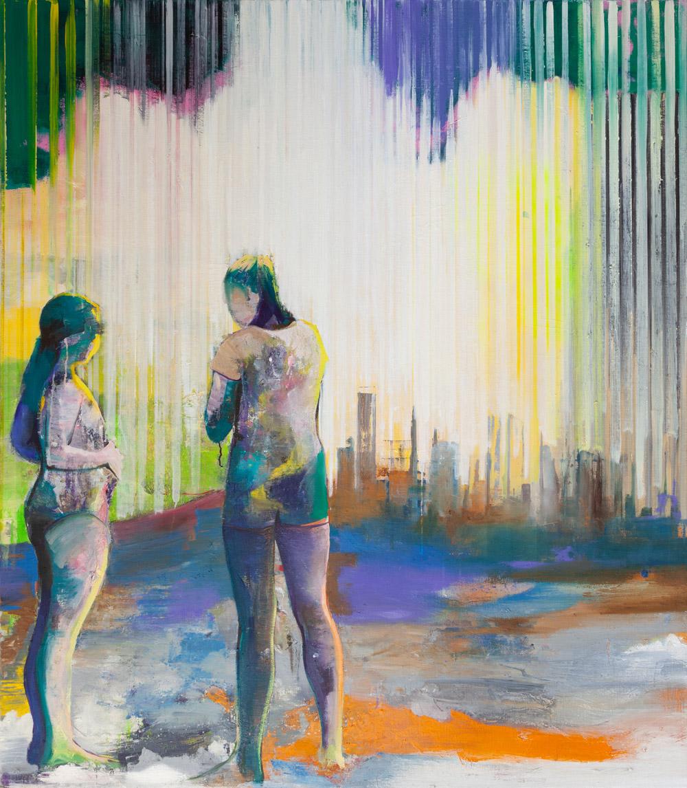 Casper Verborg   on the beach #2   oil and spray paint on canvas   160 x 140 cm   2019