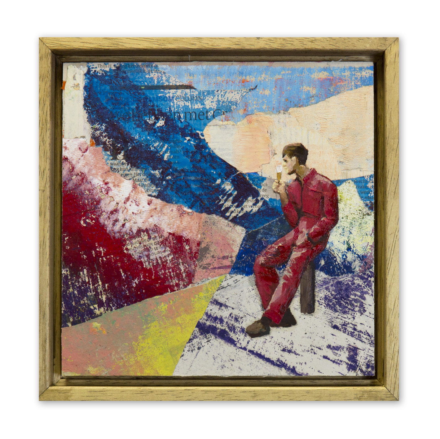 Casper Verborg   Lockdown Observation (Malieveld)   oil and spray paint on newspapers, mounted on wooden panel   20 x 20 cm   2020