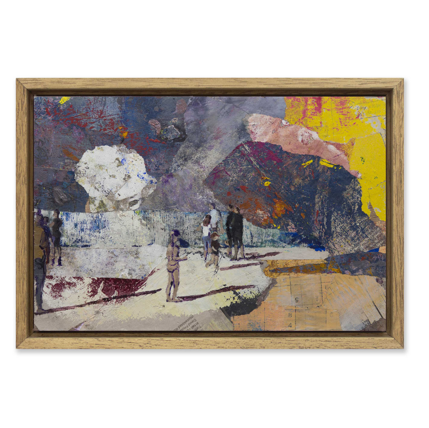 Casper Verborg   Lockdown Observation (beach scene)   oil and spray paint on newspapers, mounted on wooden panel   20 x 30 cm   2020