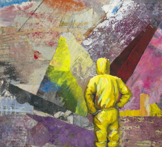 Casper Verborg   Lockdown Observation (Haven)   oil, spray paint and charcoal on newspapers, mounted on wooden panel   30 x 20 cm   2021