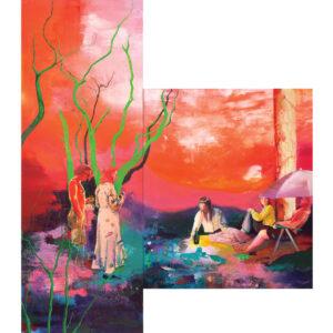 Casper Verborg | Anagnorisis (picnic in the park) | oil, oil pastel and acrylics on canvas | 300 x 110 cm; 180 x 160 cm | 2021