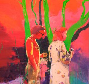 Casper Verborg   Anagnorisis (picnic in the park)   oil, oil pastel and acrylics on canvas   300 x 110 cm; 180 x 160 cm   2021